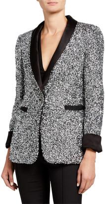 Alice + Olivia Macey Sequin Shawl-Collar Blazer