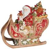 Fitz & Floyd Hand Painted Damask Holiday Santa Cookie Jar