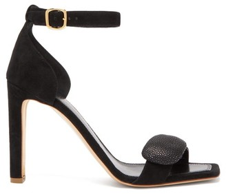 Rupert Sanderson Melissa Pebble Suede Sandals - Womens - Black