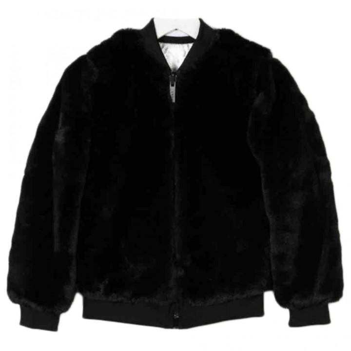 DKNY Black Faux fur Coats