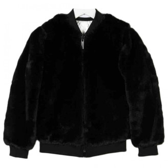 DKNY Black Faux fur Coats