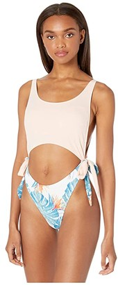 Roxy Summer Delight One-Piece (Bright White Midnight Paradise) Women's Swimsuits One Piece