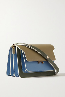 Marni Trunk Small Color-block Textured-leather Shoulder Bag - Blue