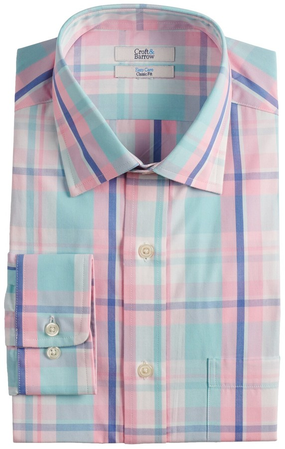 abbc060ad4c Pink And Green Plaid Shirt For Men - ShopStyle