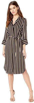7 For All Mankind Midi Shirtdress (Midnight Navy/Gold/White Stripe) Women's Clothing