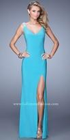 La Femme Jersey Jeweled Prom Dress