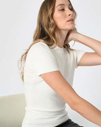 Forcast Women's White Workwear Tops - Catherine Short Sleeve Knit - Size One Size, XS at The Iconic