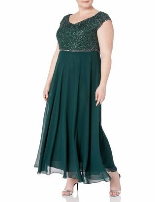 J Kara Women's Plus Size Beaded Empire Waist Gown