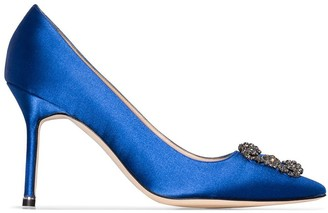 Manolo Blahnik Blue Hangisi 90 Satin Pumps