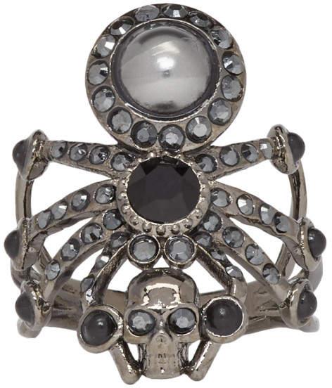 Alexander McQueen Black Spider Ring