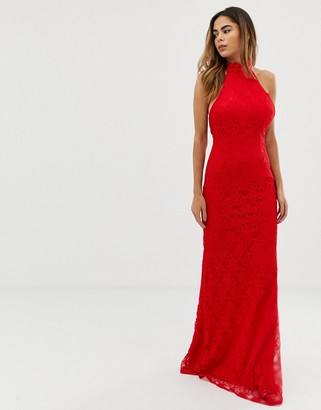 Liquorish halterneck maxi dress with lace overlay and trim detail