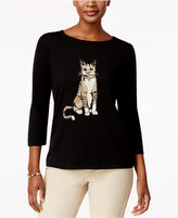 Karen Scott Cat Graphic Sweater, Only at Macy's