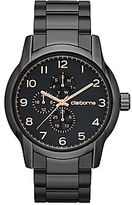 Claiborne Mens Round Dial Gunmetal Multifunction Watch