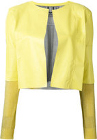 Aviu cropped open jacket - women - Leather/Polyamide/Polyester/Viscose - S