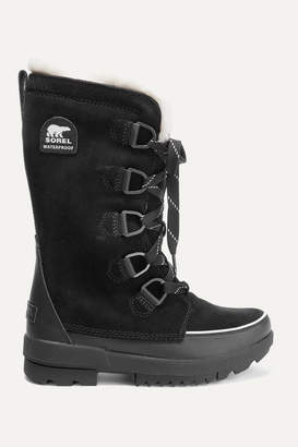 Sorel Torino Ii Faux Fur-trimmed Waterproof Suede And Rubber Boots - Black