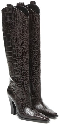 Tom Ford Croc-effect leather knee-high boots