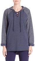 Context Hooded Lace-Up Raglan Sweatshirt