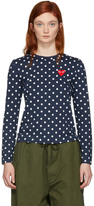 Comme des Garcons Navy Polka Dot Heart Patch T-Shirt