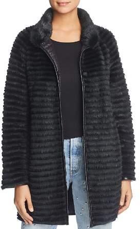 Maximilian Furs Reversible Mink Fur Coat with Rabbit Fur Trim