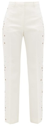 Paco Rabanne Embellished Wool Straight-leg Trousers - Ivory