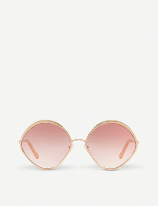 Chloé CE168S 60 Dani rose-gold and polycarbonate diamond-frame sunglasses