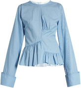 Marques Almeida MARQUES'ALMEIDA Asymmetric ruched-panel micro-gingham cotton shirt