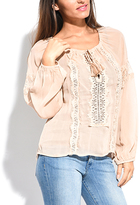 Miss June Old Pink Embroidered Tassel-Tie Scoop-Neck Top