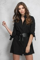 Rare Black Tie Sleeve Shirt Dress