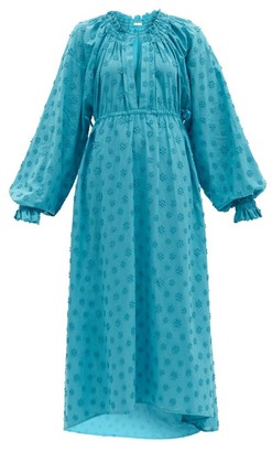 Dodo Bar Or Myra Floral-applique Cotton Maxi Dress - Blue