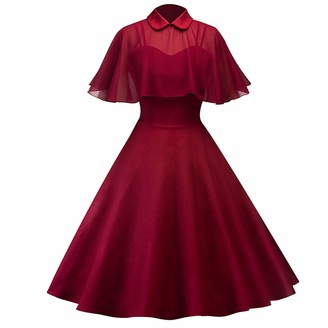 IWEMEK Women's Vintage 1950s Cloak Two-Piece Cocktail Dress Retro Rockabilly Swing A-line Knee Length Spaghetti-Strap Evening Gown Tea Party Prom Dance Homecoming Dresses Wine Red XL