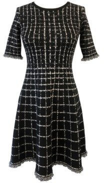 Taylor Windowpane-Print Fringed Fit & Flare Dress