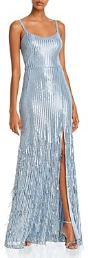 Aqua Long Sequin Fringe Gown - 100% Exclusive