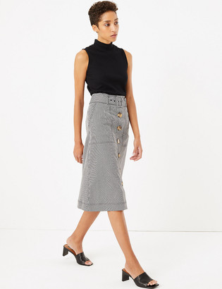 Marks and Spencer Gingham Button Front A-Line Midi Skirt