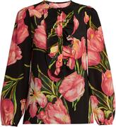 Dolce & Gabbana Tulip-print silk crepe de Chine blouse