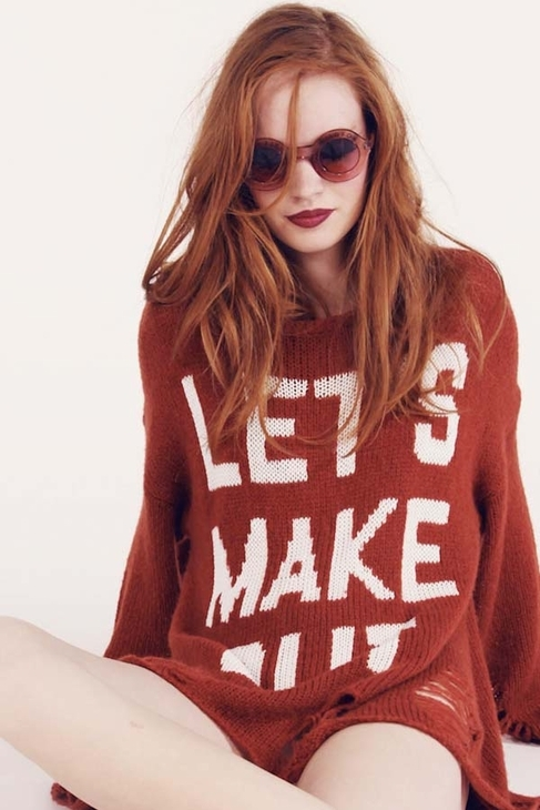Wildfox Couture Let's Make Out Lennon Sweater in Burgundy