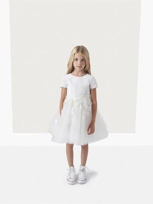 Oscar de la Renta Silk Faille Tulle Embroidery Flower Girl Dress