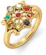 PEACOCK JEWELS Certified 18K Gold (HallMarked), 0.03 cttw White Diamond (IJ | SI ) Navaratna and Diamond Engagement Wedding Ring Size - 5