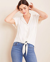 Ann Taylor Petite Notched Collar Tie Front Top