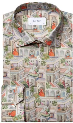 Eton Slim-Fit City Scene-Print Cotton Dress Shirt