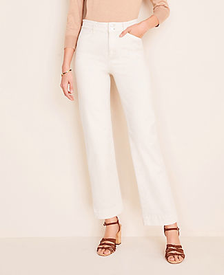 Ann Taylor Petite Easy Straight Jeans in White Mirage