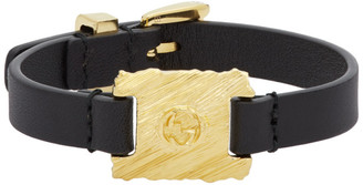 Gucci Black and Gold Textured Metal and Leather Bracelet