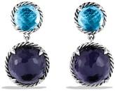 David Yurman Ch'telaine Double-Drop Earrings with Black Orchid & Blue Topaz