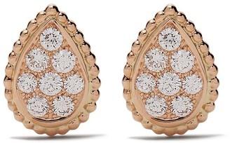 Boucheron 18kt rose gold Serpent Boheme diamond S motif stud earrings