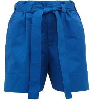 colville Tie-waist Cotton-twill Shorts - Blue