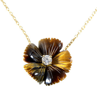 Boucheron Heritage  18K 0.20 Ct. Tw. Diamond & Tiger's Eye Flower Necklace
