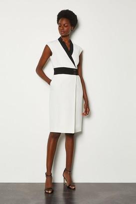 Karen Millen Collar Wrap Contrast Popper Dress