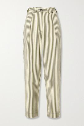 Mara Hoffman Net Sustain Jade Striped Tencel And Organic Cotton-blend Twill Tapered Pants - Ecru