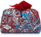 Jimmy Choo CARA/S Robot Blue Mix Floral Brocade Fabric Slouchy Clutch Bag