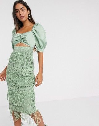 ASOS DESIGN fringe lace midi dress with structured bodice in sage