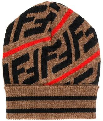 Fendi FF intarsia beanie hat